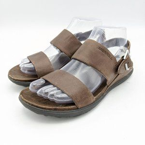 Merrell Sandals Adjustable Strap Leather Brown